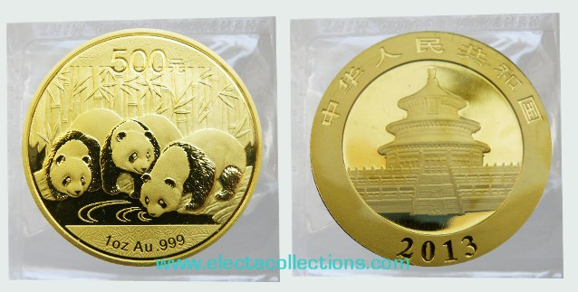 China - Gold coin BU 1 oz, Panda, 2013