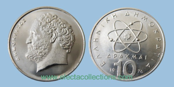 Greece - 10 drachmas coin UNC, Democritus, 1976