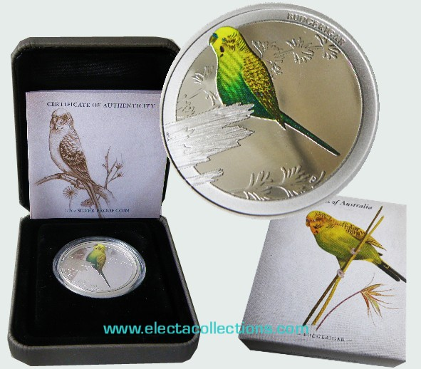 Australia - Silver coin PROOF 1/2 oz, Birds of Australia – Budgerigar 2013
