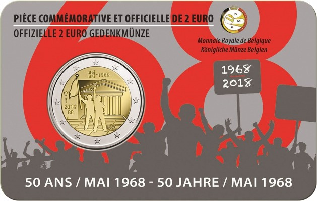 Belgien - 2 euro, Revolt May 68, 2018 (coin card)