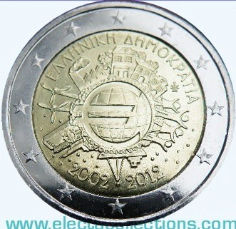 Greece – 2 Euro, 10 Years of EURO cash, 2012