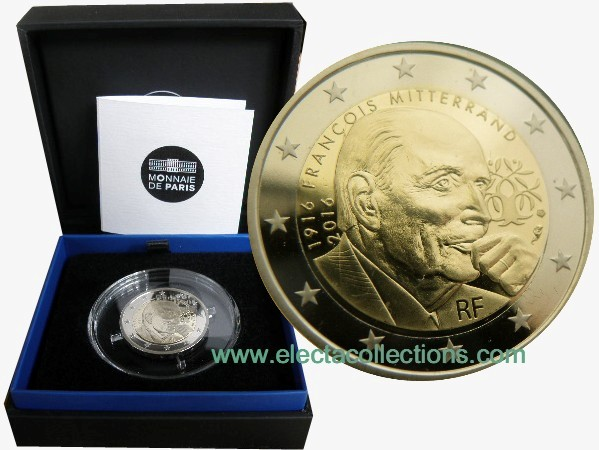 France - 2 Euro, Francois Mitterrand, 2016 (proof)