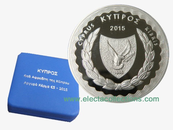 Cyprus - 5 Euro Silver PROOF, Goddess Aphrodite, 2015