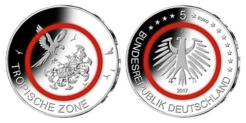 Allemagne - 5  Euro, Tropical zone, 2017 (proof mint J)