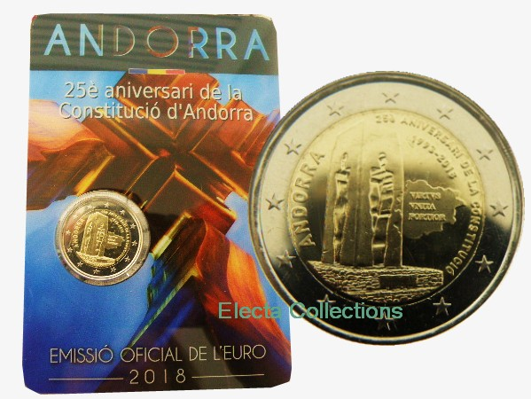 Andorre -  2 Euro, Constitution, 2018 (coin card)