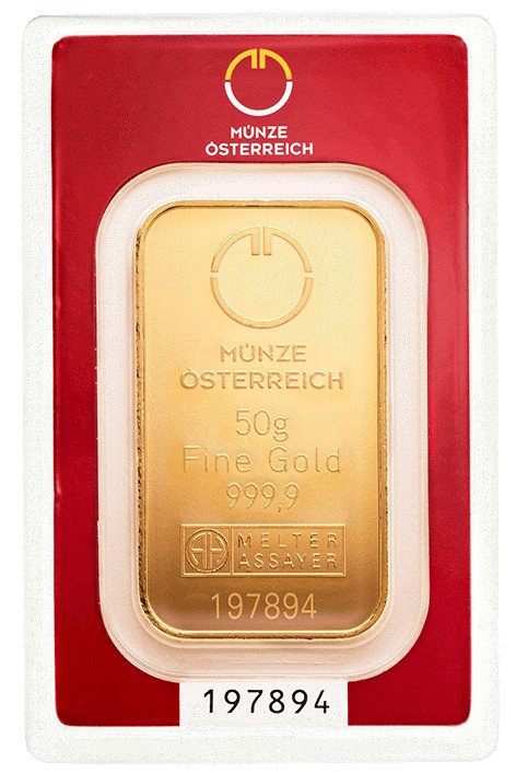 Gold Bar Austrian Mint 50 gramms 999.9/1000