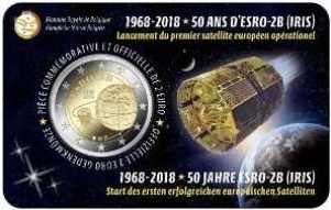 Belgique - 2 Euro, Satellite ESRO-2B, 2018 (coin card)