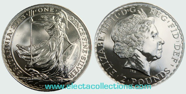 Great Britain - £2 Britannia One Ounce Silver Bullion, 2013