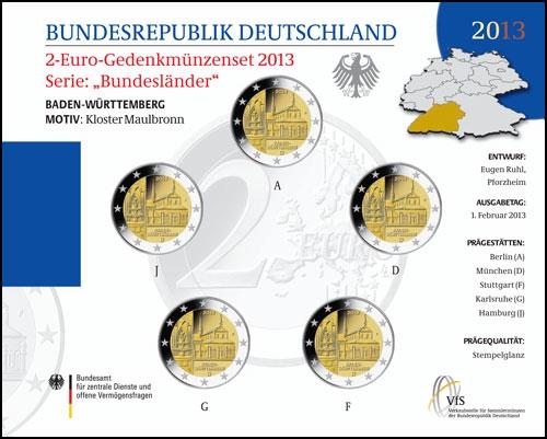 Germany – 2 Euro BU, Maulbronn monastery, Baden-Wurttemberg, 2013 - 5 coins A,D,F,G,J