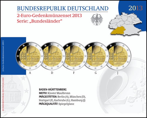 Germany – 2 Euro PROOF, Maulbronn monastery, Baden-Wurttemberg, 2013 - 5 coins A,D,F,G,J