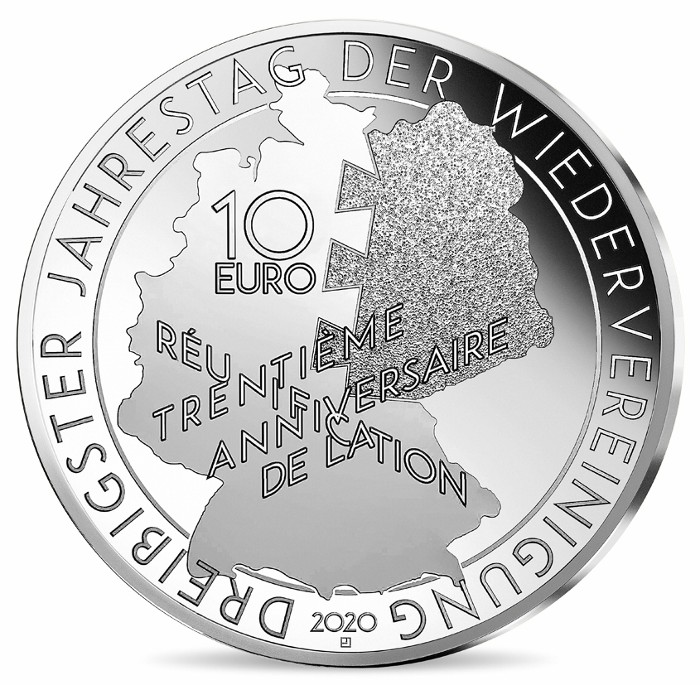 France - 10 Euro Silver proof, MITTERRAND - KOHL, 2020
