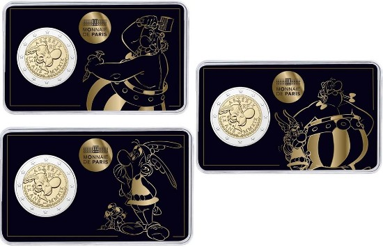 France - 2 Euro set, Astérix-Obélix-Idéfix 2019 (3 coin cards)