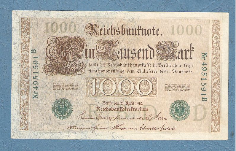 Germania - 1000 Marks (green seals), Berlin 1910