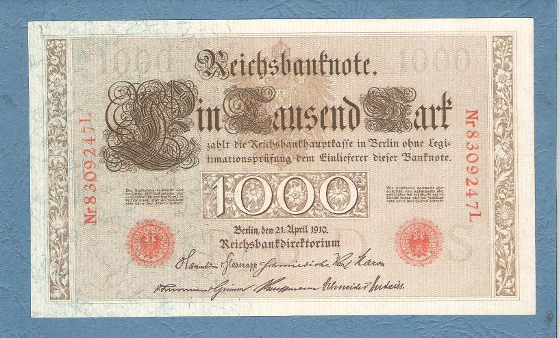Allemagne - 1000 Marks (red seals), Berlin 1910 (AU)