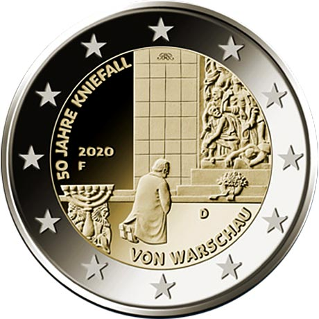 Germania - 2 Euro, Willy Brandt in Warsaw, 2020 (A,D,F,G,J)