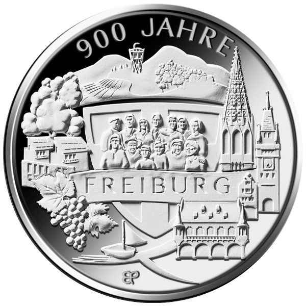 Alemania - 20 Euro Silver PROOF, 900 Years Freiburg, 2020