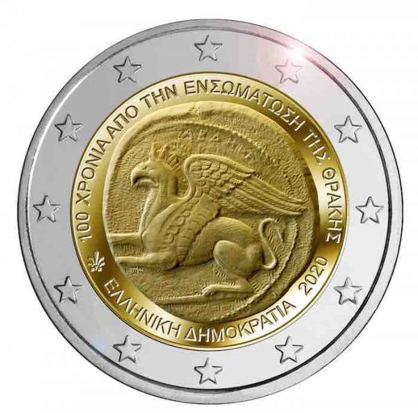 Greece – 2 Euro, UNION OF THRACE WITH GREECE, 2020 (coin card)