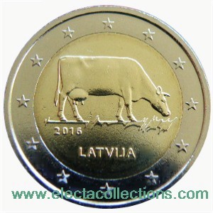 Latvia - 2 Euro, Dairy Industry, The Latvian Brown, 2016
