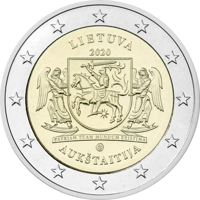 Lithuania - 2 Euro, AUKSTAITIJA, 2020 (coin card)