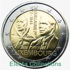 Luxemburg - 2 €, 175th anniv. of death Guillaume I, 2018 (unc)