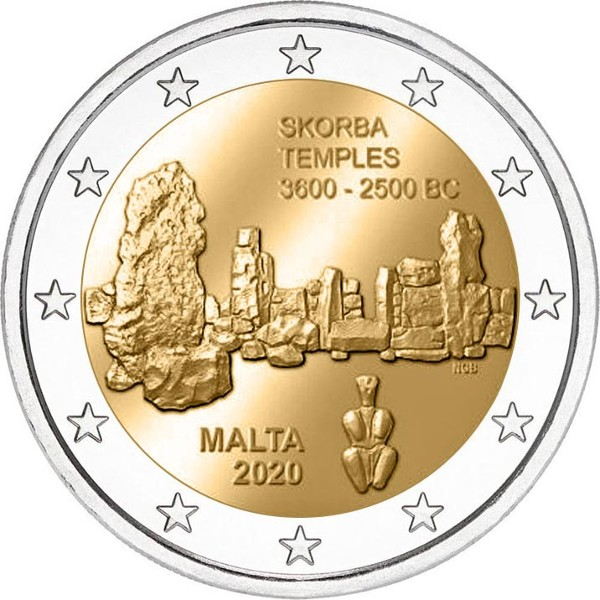 Malta - 2 Euro, Skorba Temples, 2020 (without mint mark)