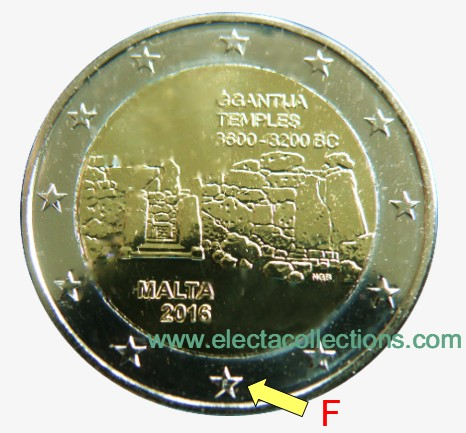 Μάλτα – 2 Ευρώ BU, Ġgantija, 2016 (mint mark F)