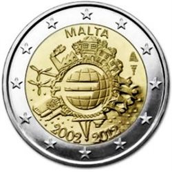 Malta – 2 Euro, 10 Years of EURO cash, 2012