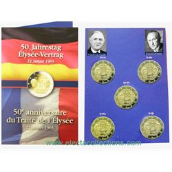 Germany - 2 Euro, Elysee Treaty, 2013 (A,D,F,G,J)