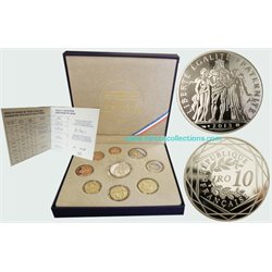 France - Euro coins, Official Proof Set 2013 + 10 Euro silver
