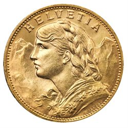 Suisse - 20 Francs Gold XF, Helvetia, 1935