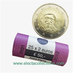 France - 2 Euro, Abbe Pierre, 2012 - rolls 25 coins