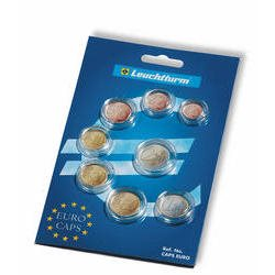 Coin capsules for a set of Euro coins, 1 Cent to 2 Euro