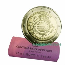Cyprus – 2 Euro, 10 Years of EURO cash, 2012 - roll 25 coins
