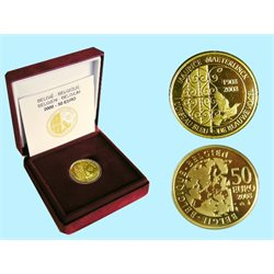 Belgium - 50 Euro gold Proof, L Oiseau bleu, Maurice Maeterlinck, 2008