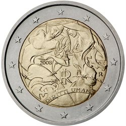 Italy - 2 Euro, Declaration of Human Rights, 2008