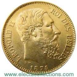 Belgium - 20 Francs Gold coin, King Leopold II, 1874