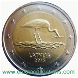 Latvia - 2 Euro, Black Stork, 2015