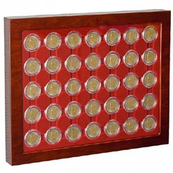 Coin showcase, for 2 euro coins with capsules