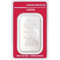 Silver Bar Argor Heraeus 100 grams 999/1000