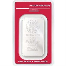 Silver Bar Argor Heraeus 50 grams 999/1000