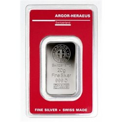 Silver Bar Argor Heraeus 20 grams 999/1000