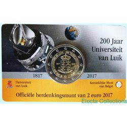 Belgique - 2 Euro, Universite de Liege, 2017 NL coin card