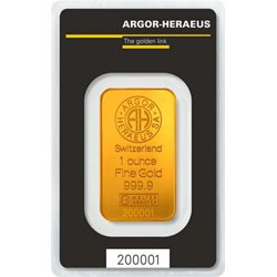 Gold Bar Argor Heraeus 1 oz 999.9/1000