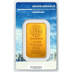 Gold Bar Argor Heraeus 1 oz 999.9/1000 (Winter)
