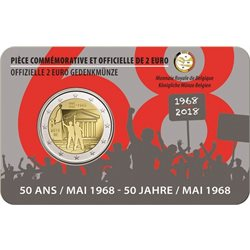 Belgio - 2 Euro, Students Revolt May 68, 2018 FR (coin card)
