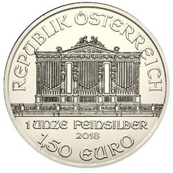 Austria - 1,50 Euro Vienna Philharmonic, Silver, 2018