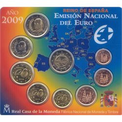 Spain - Official BU Set 2009 + 2 Euro 10 years EMU