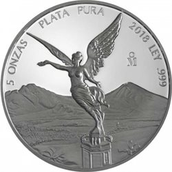 Mexico - Silver coin 5 oz, Libertad, 2018 (PROOF)