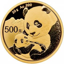 China - Gold coin BU 30g, Panda, 2019 (Sealed)