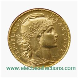 France - 20 Francs Gold Marianne (BU), 1909